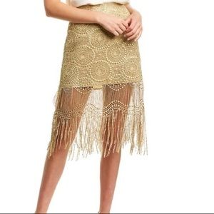 Ramy Brook Linnea Fringe Metallic Lace Skirt NWT